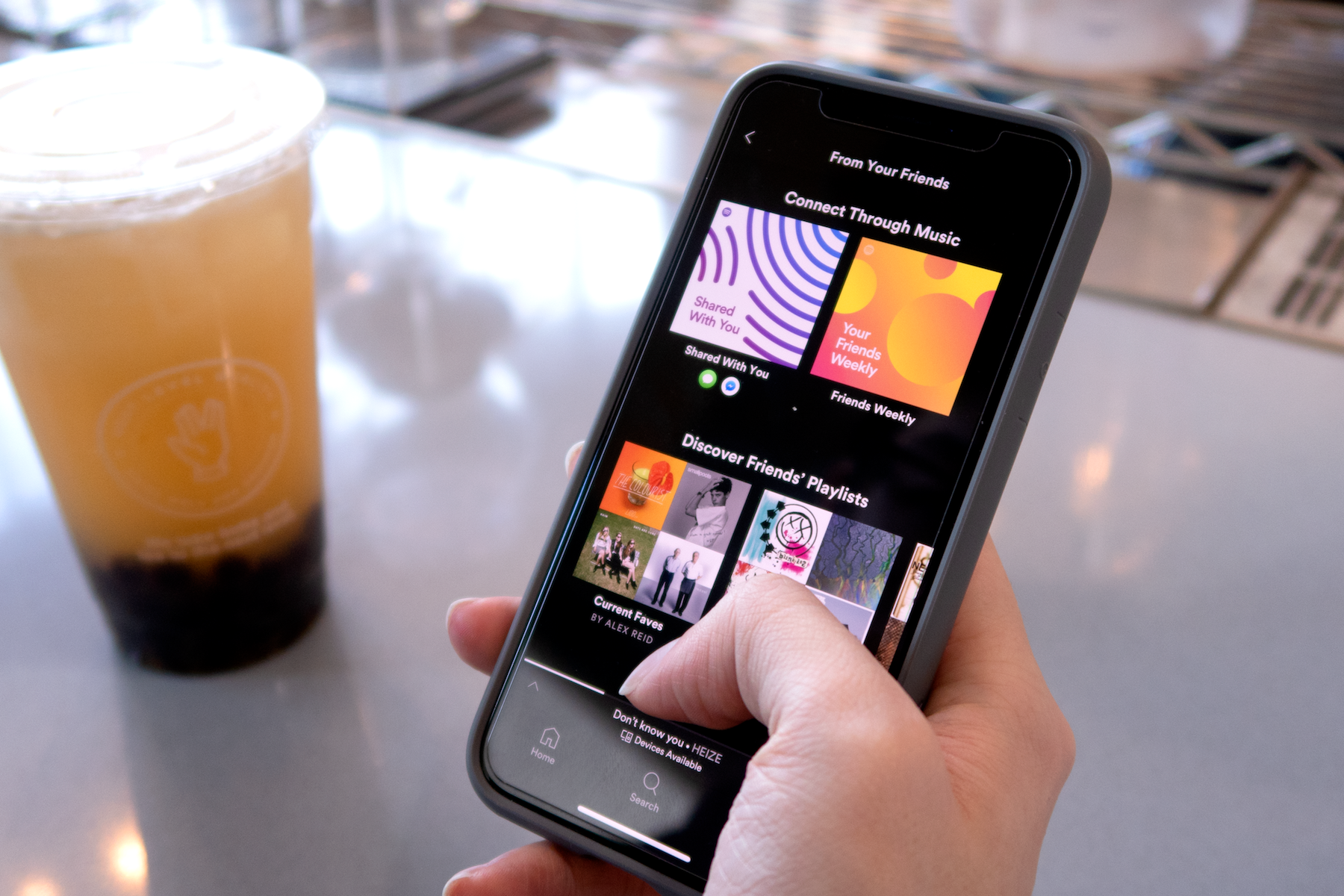 Testing with Spotify users at cafés.