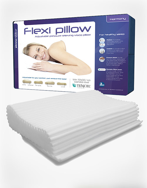 SLOW RELEASE MEMORY FOAM  UNIQUE COMFORT & SUPPORT  4 ADJUSTABLE HEIGHTS  MODERATE CONTOUR  MEDIUM FEEL  BACK & SIDE SLEEPING  TENCEL WASHABLE COVER  RIPPLED