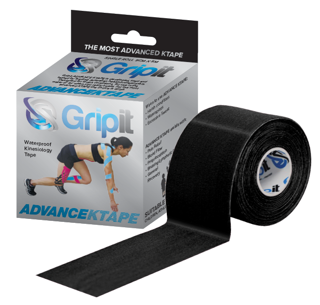 GRIPIT ADVANCE KTAPE-Black Gripit Advance KTAPE will remain on in all conditions. -designed to elevate and drop the skin fascia. -decrease pain and soreness due to the reducing information from pain receptors. -assists in the movement of fluid and toxins via the lymphatic system. -assists in capillary return and therefore assisting in healing. -provides proprioceptive feedback assisting in rehab.  Key features * Technical VISCOSE Synthetic Fabric with 5% lycra/spandex. *Provides 2 way stretch of approximately 160-180%. *Highest grade Japanese adhesive. *No latex or zinc oxide - so low risk of allergic reaction. *Lasts upto 7 days.