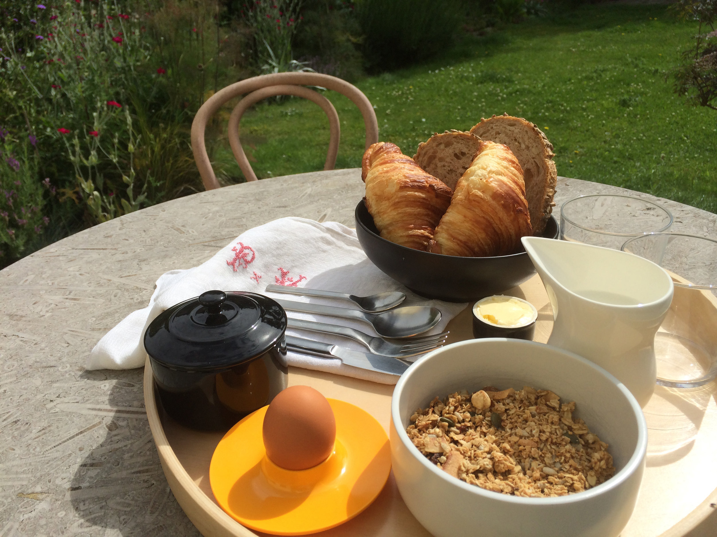 Breakfasts are served on the garden terrace when sunny and warm
