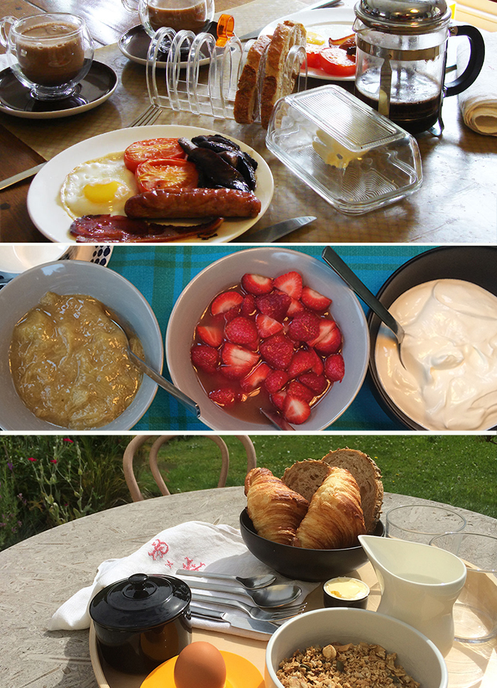 Breakfasts - SAMPLE MENU– Fruit, cereals & yoghurt– Full English– Salmon and scrambled eggs– Courgette Souflée omelette– Frittata with goats cheese, roasted tomato, mushrooms– Artisan bread, croissants, jam and preserves