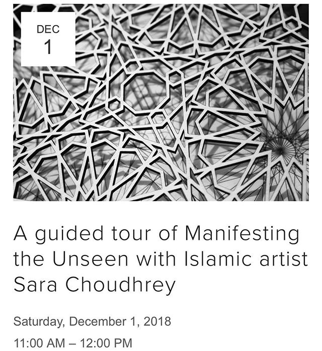 Want to learn more about Islamic Art and the pieces that will be on display in our exhibition? If yes - then this guided tour will be just the ticket! . Sara Choudhrey is one of our featured artists, and she will be provide an insider's perspective on the artworks displayed. . To join the tour, please sign up via our website (link in bio) . Artwork image: Al Jaqmaqiyya, by @saara_0_0