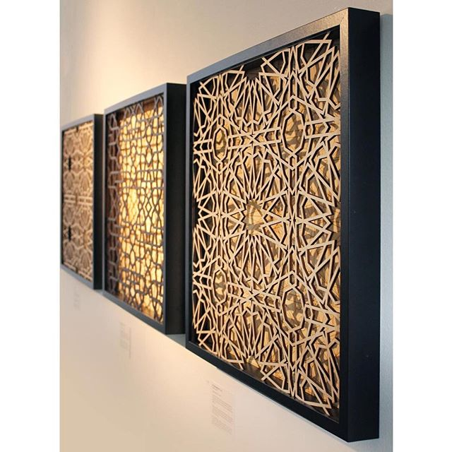Salaam and Jummah Mubarak to all! . Today's artist in the spotlight is Sara Choudhrey @saara_0_0 . The beautiful laser etched pieces are a perfect marriage of contemporary methods & materials with traditional design.  Swipe for more details. . 2nd image shows: . Al Jaqmaqiyya II  2018 Sara Choudhrey  Laser etched and cut wood  Inspired by the principle of making knowledge accessible for all, Al Jaqmaqiyya I and II provide the viewer with a dual level insight into the construction methods used in traditional Islamic geometry.  Using a pattern found upon the stone mihrāb of the 15th century Al Jaqmaqiyya Madrassa in Damascus, Syria, the 16-fold pattern conveys the significance of individual shapes contributing to larger compositions.  In this contemporary rendering, the hidden structure is made visible for the viewer to share the experience of proportional geometry, encouraging their engagement through the use of depth, shadows and alignment. . .  3rd image shows: . Maryam Zamani I  2018  Sara Choudhrey  Laser etched and cut wood  The geometric patterns in this series reference decorative art from historic architectural sites in Syria and Pakistan, some in ruins or in the process of restoration. By bringing this subject to the fore, questions can be raised regarding our interactions and responses to changing spaces.  The Maryam Zamani Masjid in Lahore, Pakistan, is one of the earliest Mughal mosques built. A masjid with a significant and tumultuous history, it is currently undergoing restoration of its vast fresco-covered surfaces. The masjid is still in use by local residents and able to serve its purpose but only whilst a value for its form and function is retained. . . . #creativemuslimwomen #islamicgeometry #manifestingtheunseen #guestprojects #laser #sarachoudhrey #islamicart #londonartscene #geometricart