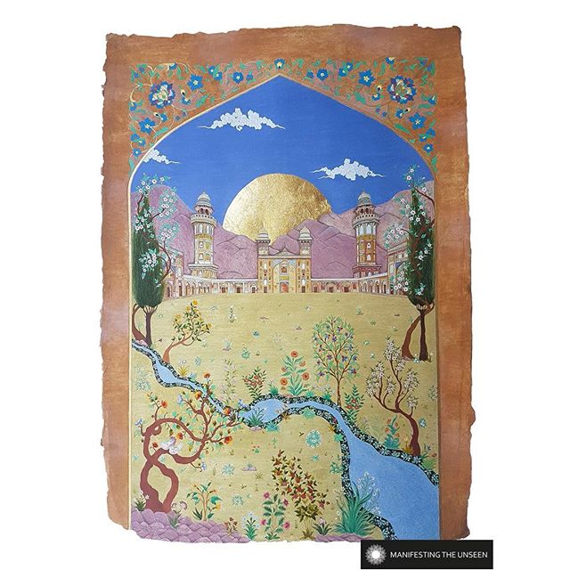 Today's artist in the spotlight is @_mobeenakhtar_  whose work delights the heart and lifts the spirit. . Garden of Reflection  2018 Mobeen Akhtar  Hand-ground pigment, gum arabic and 24k gold leaf on handmade wasli paper.  Wazir Khan Mosque of Old Lahore boasts a vast range of stylized florals which adorns its tiles and fresco work. Taking inspiration from the same walls and ceilings, Mobeen envisages the return of the flowers and trees to their gardens of origin. The concept aims to capture a feeling of completeness, a journey back to the beginning, the closing of the circle.  A rich colourful garden scene evokes visions of Paradise which awaits the return of the Mu'mineen (the faithful). Framed within an archway we visualise the entire structure and gardens beyond, a reflection of mankind's search within themselves and contemplation of their place in existence.  Second Image:  Reunion  2018 Mobeen Akhtar  Hand-ground pigment, gum arabic and 24k gold leaf on handmade wasli paper.  This diptych is a prelude to the artist's piece Garden of Reflection.  It depicts two birds that are searching for one another, awaiting the promised reunion. The golden sun shines down on the birds as a symbol of light and hope. They fly from tree to tree in search of one another so they can join and rest together in the Gardens of Paradise. They knew each other once upon a time, they lost each other, but under the Light they will be reunited as promised by their Creator. The Noor (light) of God will shine over them, there will be peace, there will be love, and there will be an eternity together. . . #manifestingtheunseen #guestprojects #persian #miniature #persianminiature #naturalpigments #lapislazuli #malachite #gold #tezhip #wazirkhan #garden #paradisegardens #lovevirds #reunion #mobeenakhtar #islamicart