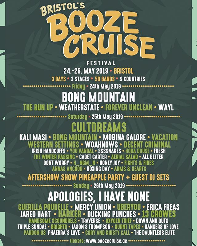 Day splits for @boozecruisefestival in Bristol are up! Holy hot heck! I play Sunday and good golly look at that nonsense.