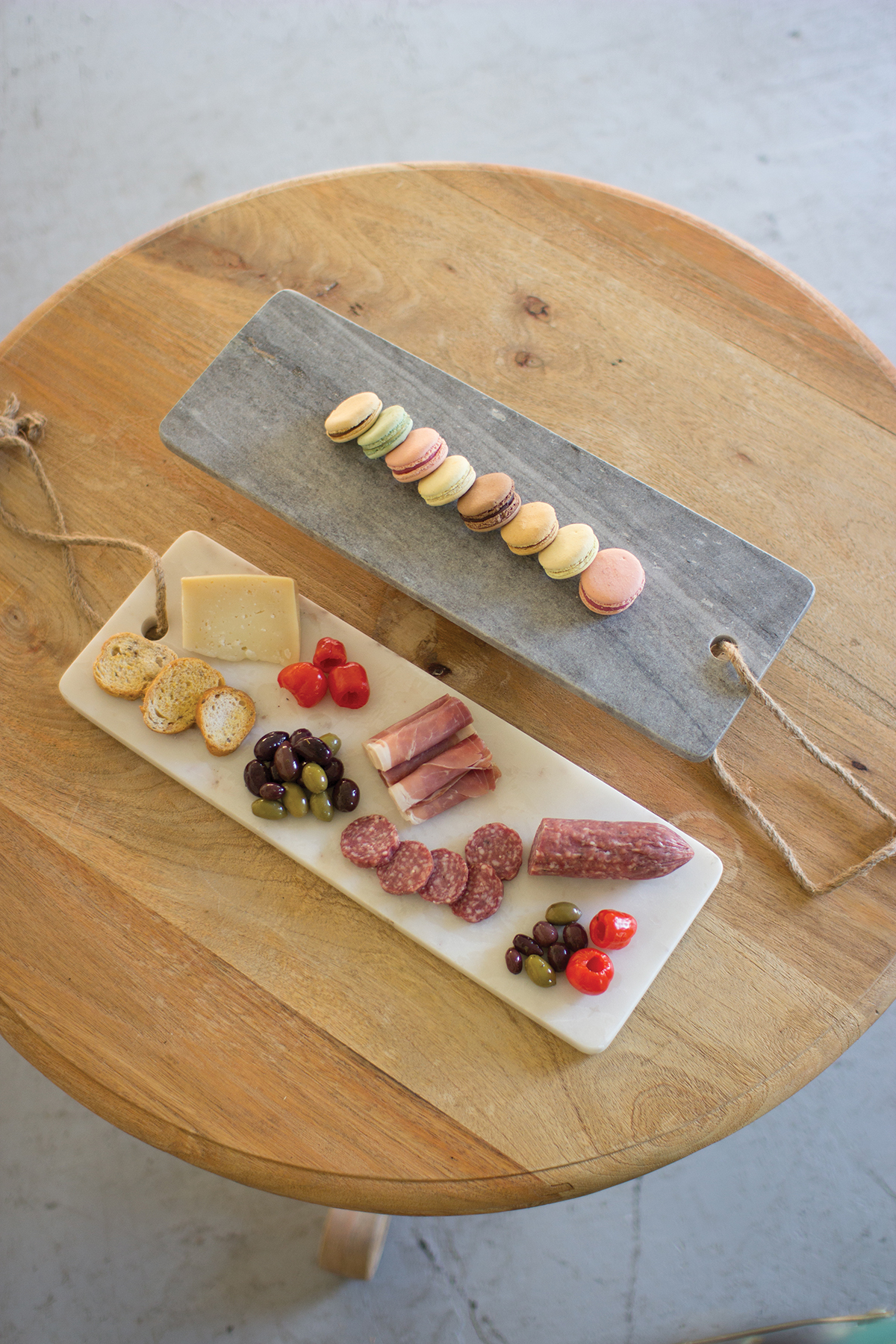 Grey Marble Cutting Board With Rope Handle Decorative Interiors