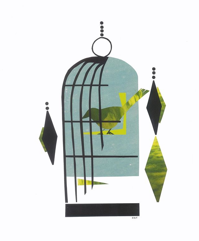 """""""Birdcage""""  #art #modern #collage #midcentury #artwork #artist #local #sandiego #interiors #interior #design #interiordesign"""