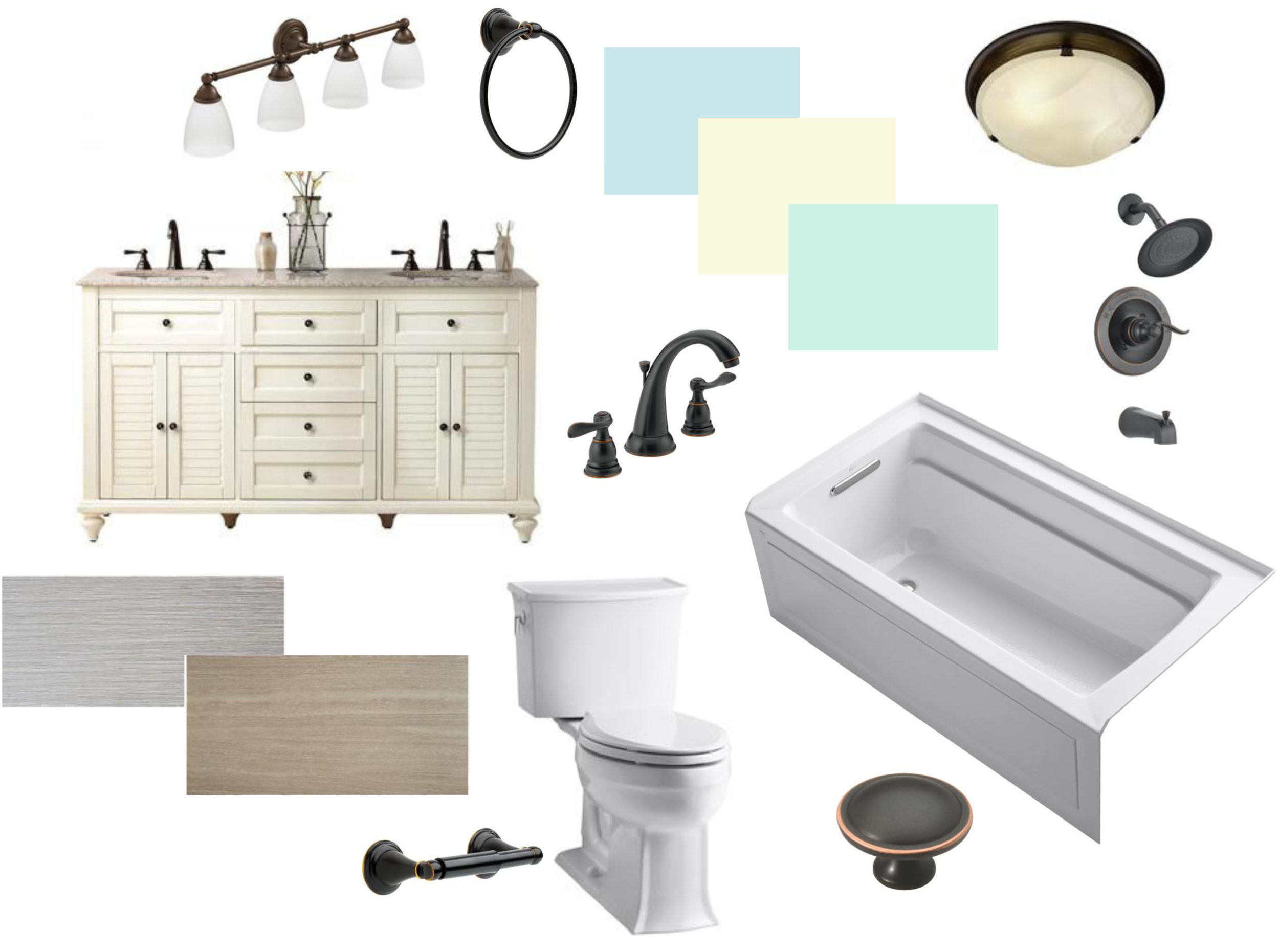 Beach inspired bathroom mood board