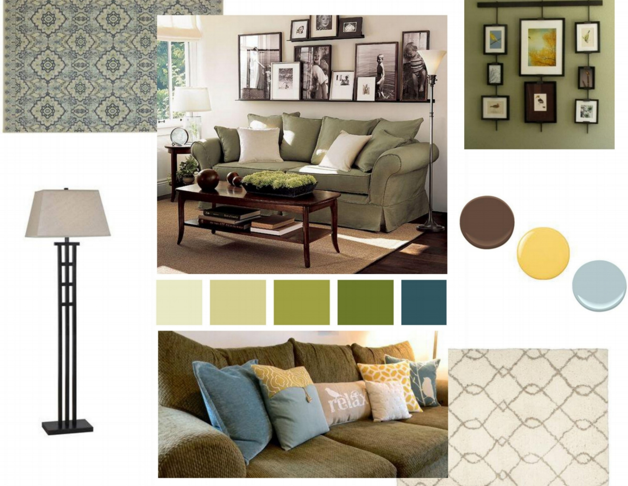 Cozy transitional living room mood board