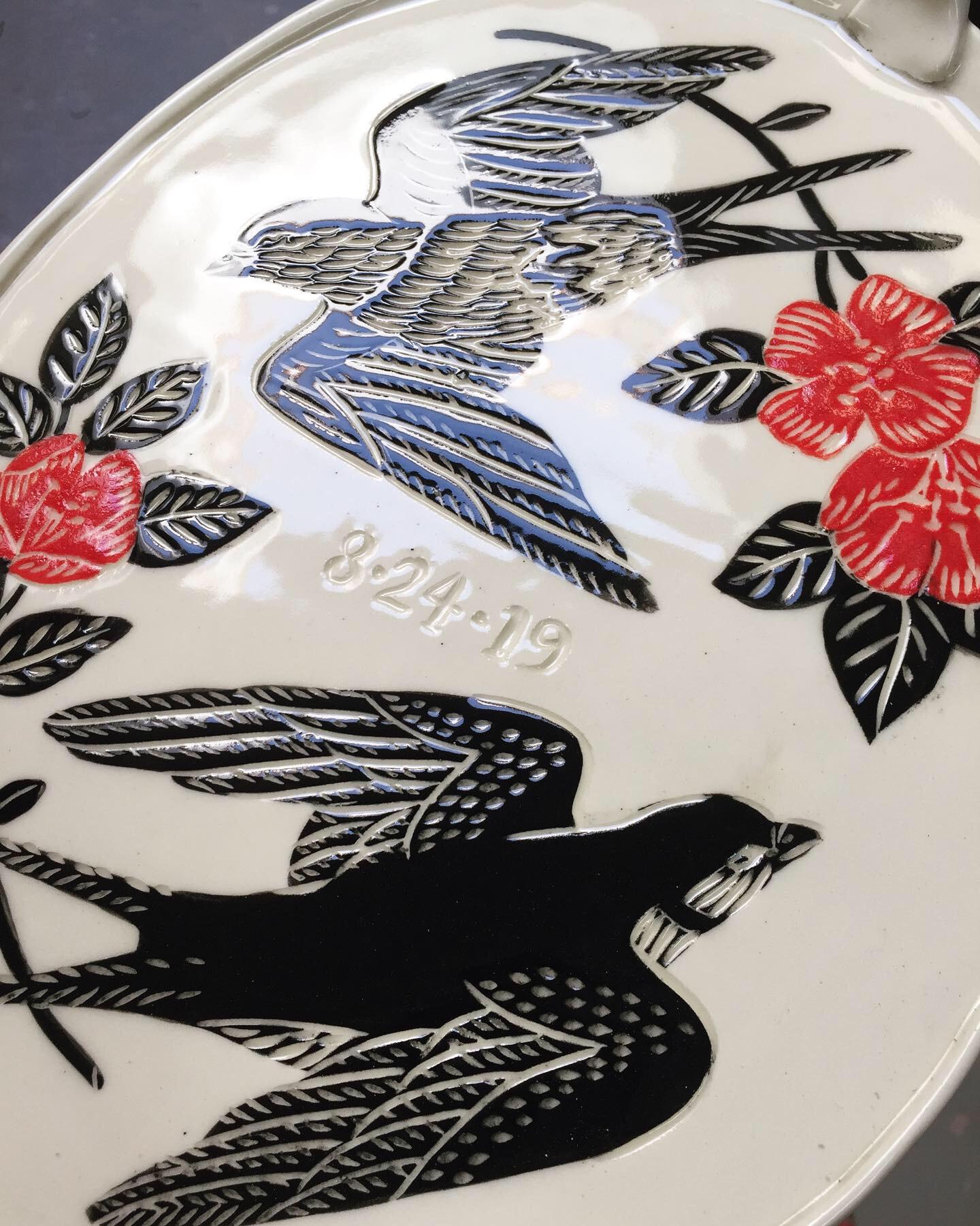 Detail of a custom wedding platter.