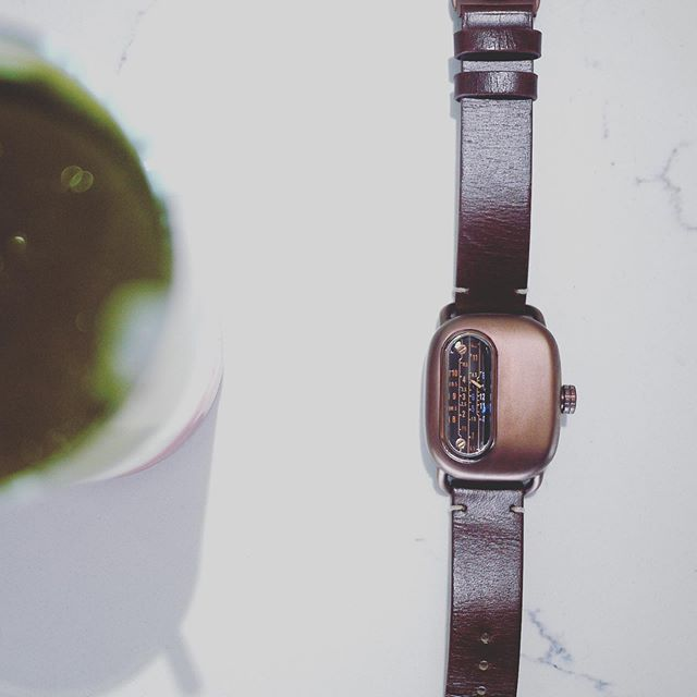 Keeping in line with matcha lattes and watches. Here's the Series 01 with a strawberry matcha latte!  #watches #watch #steampunk #vintage #matcha #momonokiatl #design #atlanta #kickstarter #watchesofinstagram