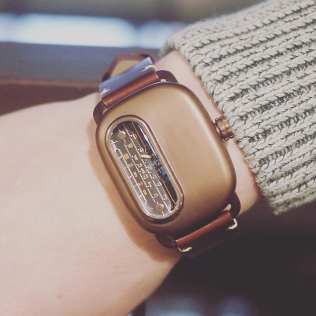 Ganymede Series 01 available for preorder now on our website! Ships in November!  Link in bio.  316L stainless steel case with bronze PVD and distressed brown leather strap.  #retro #steampunk #watch #watches #watchesofinstagram #style #fashion #timepiece #horology #jewelry #wristwatch #lifestyle #accessories #minimalism #design #technology #kickstarter #vintage #vintagefashion