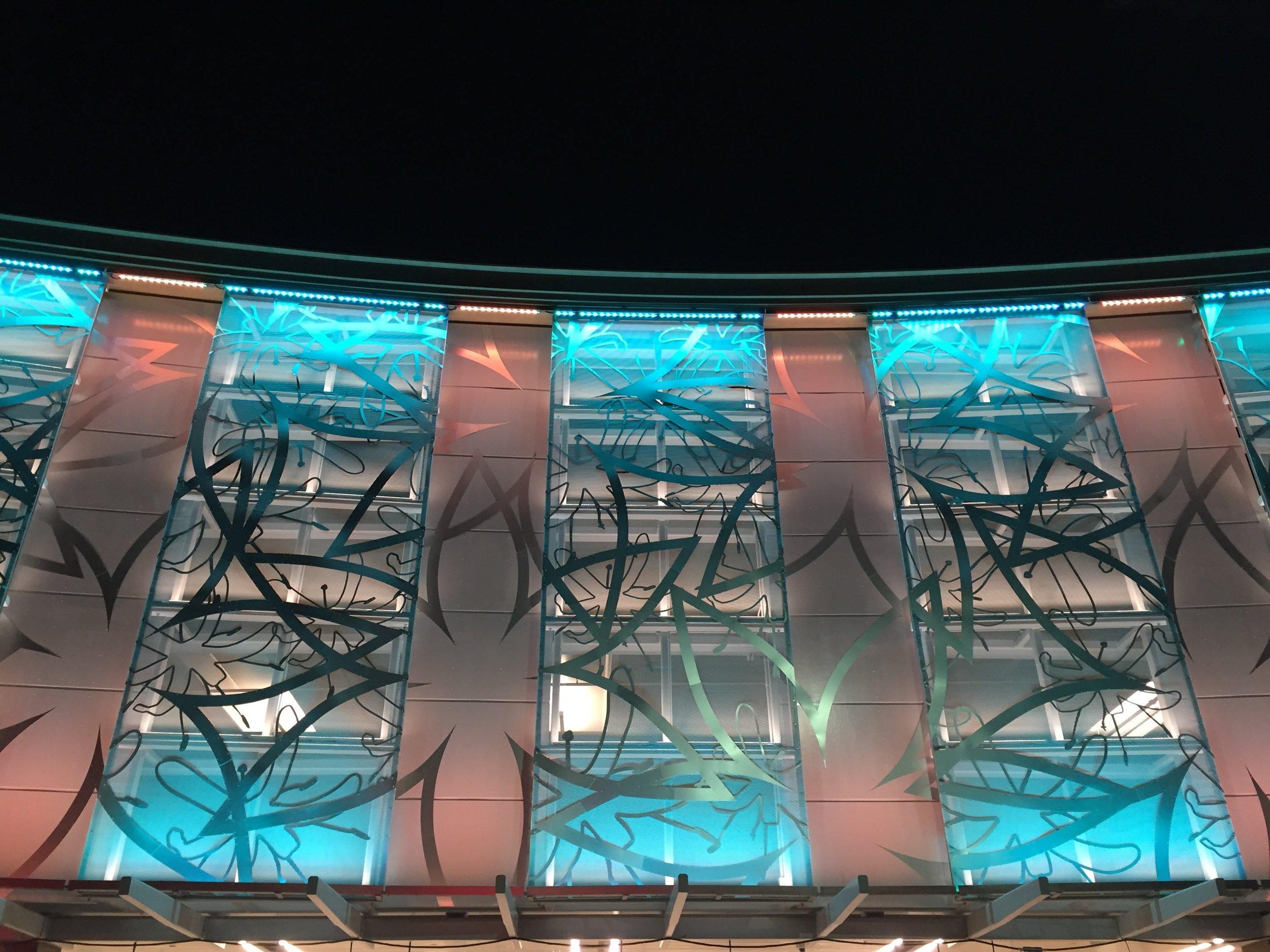 Cliff Garten,  Liliales , 2016, stainless steel, aluminum, LED, 12 x 28 feet