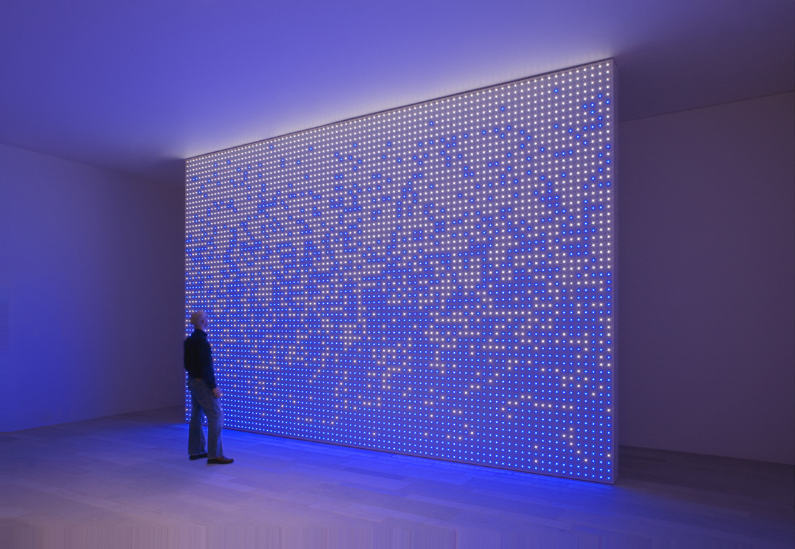 Erwin Redl,  MATRIX XVII , 2009, light installation with white and blue LEDs, 14 x 21 feet