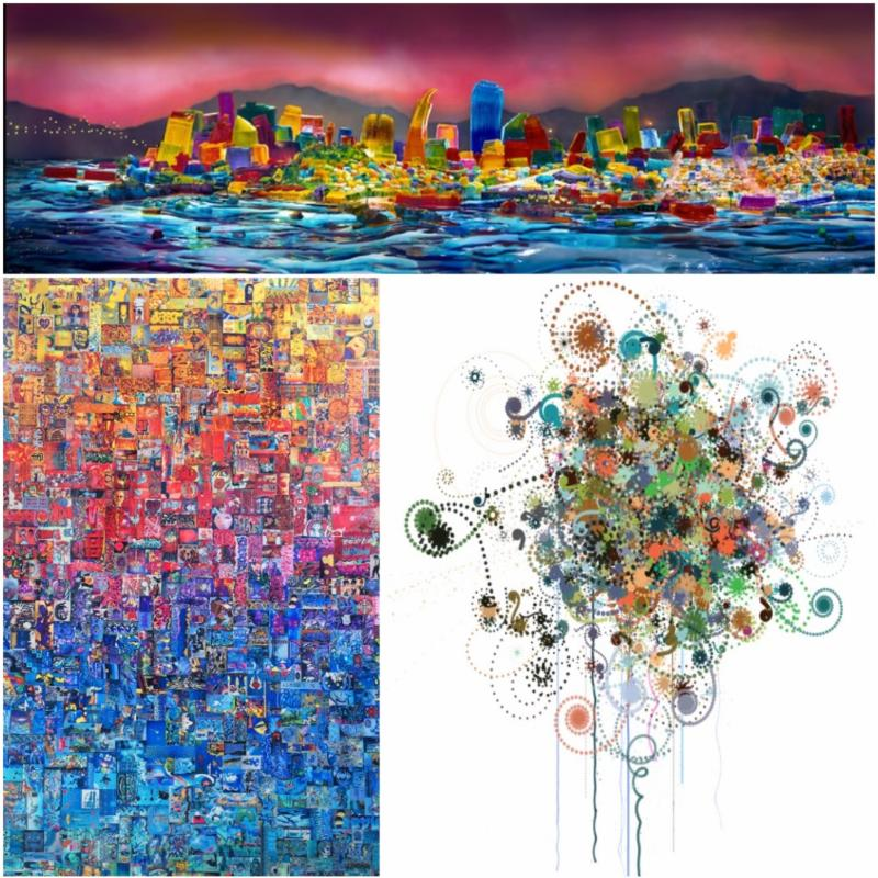 Clockwise, from top: photograph of San Francisco skyline made of Jell-O by Liz Hickok, custom image for wall covering by Carter Hodgkin, collage of photographs of Mission District graffiti by Rachel Leibman