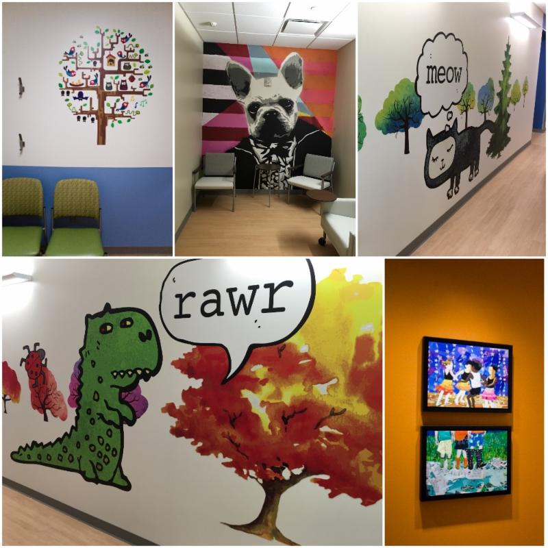 Clockwise from top left: wall decal for patient room, super graphic art by Kim McCarthy, custom designed cat and dinosaur corridor decals by Joyce Hsu, and prints on canvas by Mark Fraley