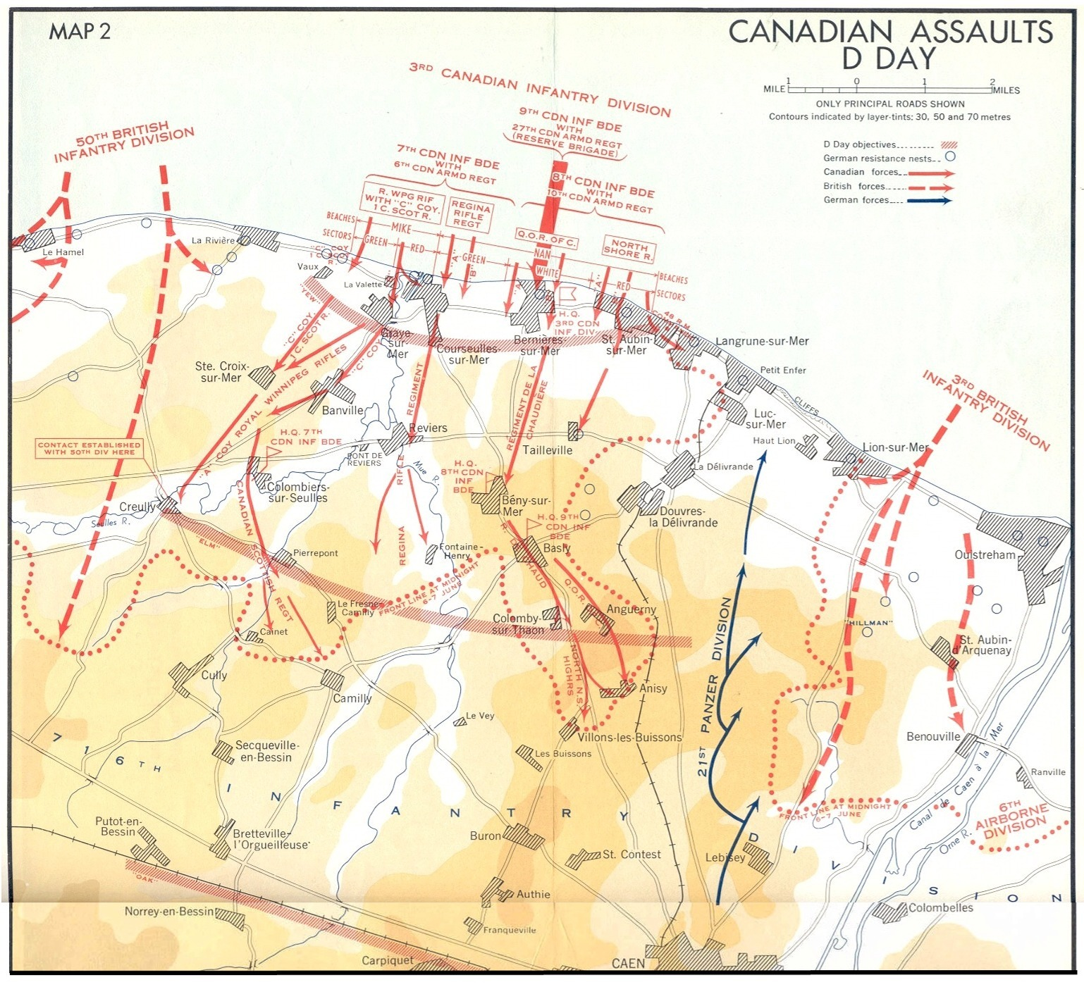 Canadian Assaults on D Day; note direction of 9th Inf. Dif. reserve and corresponding location of nan white beach and