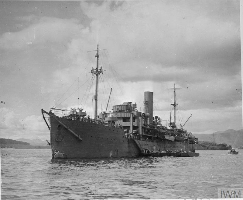 HMS HILARY with Landing Craft alongside at Greenock..jpg