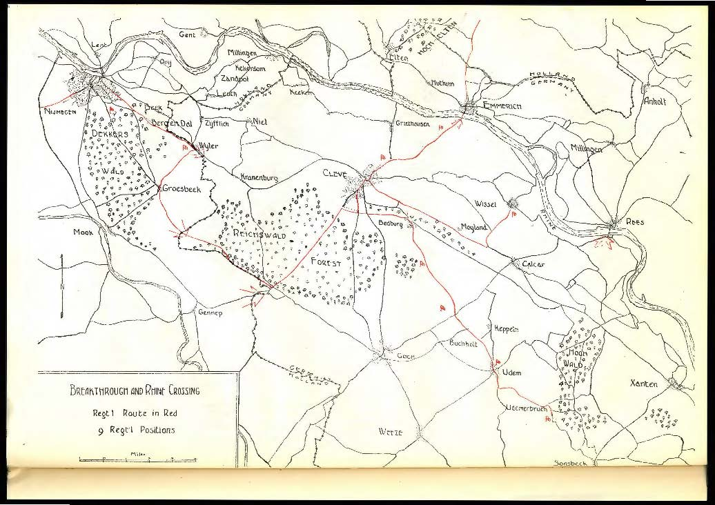 "13th Field Regiment, RCA ""Breakthrough and Rhine Crossing"" indicates location of Regimental positions in Eastern Holland and Germany [REF]"