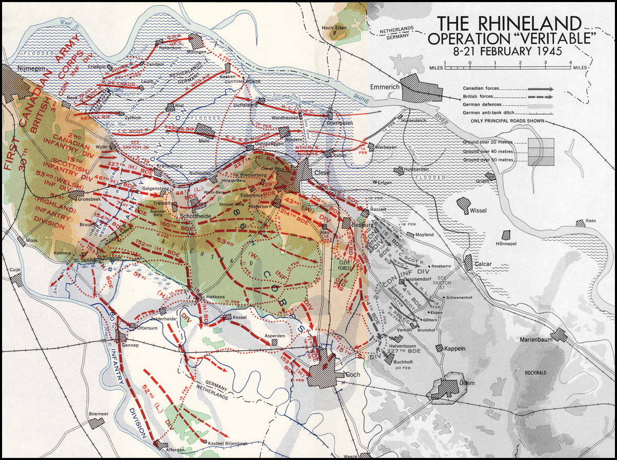 "First Canadian Army ""The Rhineland: Operation Veritable"" indicates location of Canadian units during Operation Veritable. [Note UNIT LOCATION][ REF]"