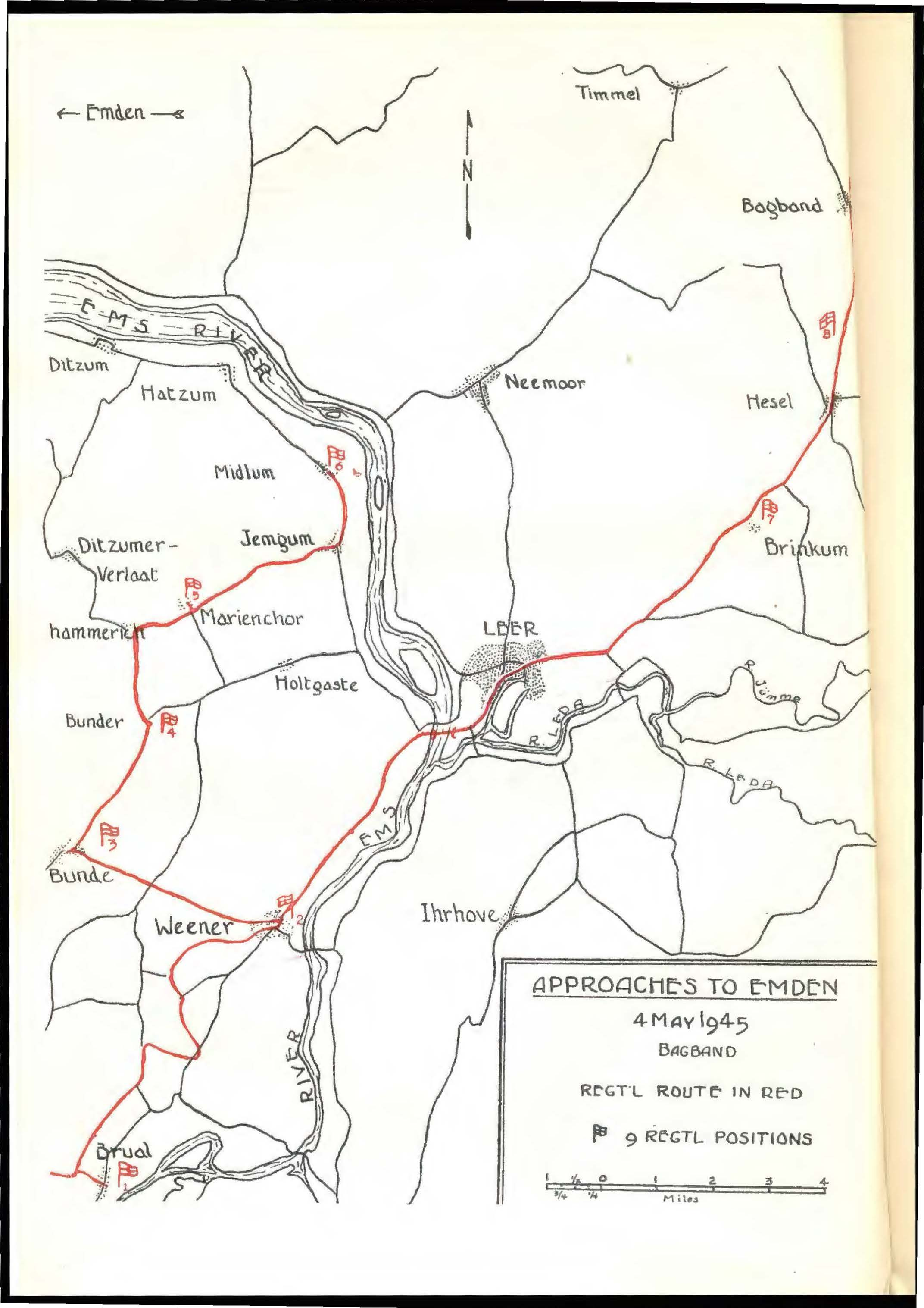"13th Field Regiment, RCA ""Approaches to Emden"" indicates location of Regimental positions in NORTHERN HOLLAND and NW Germany [REF]"