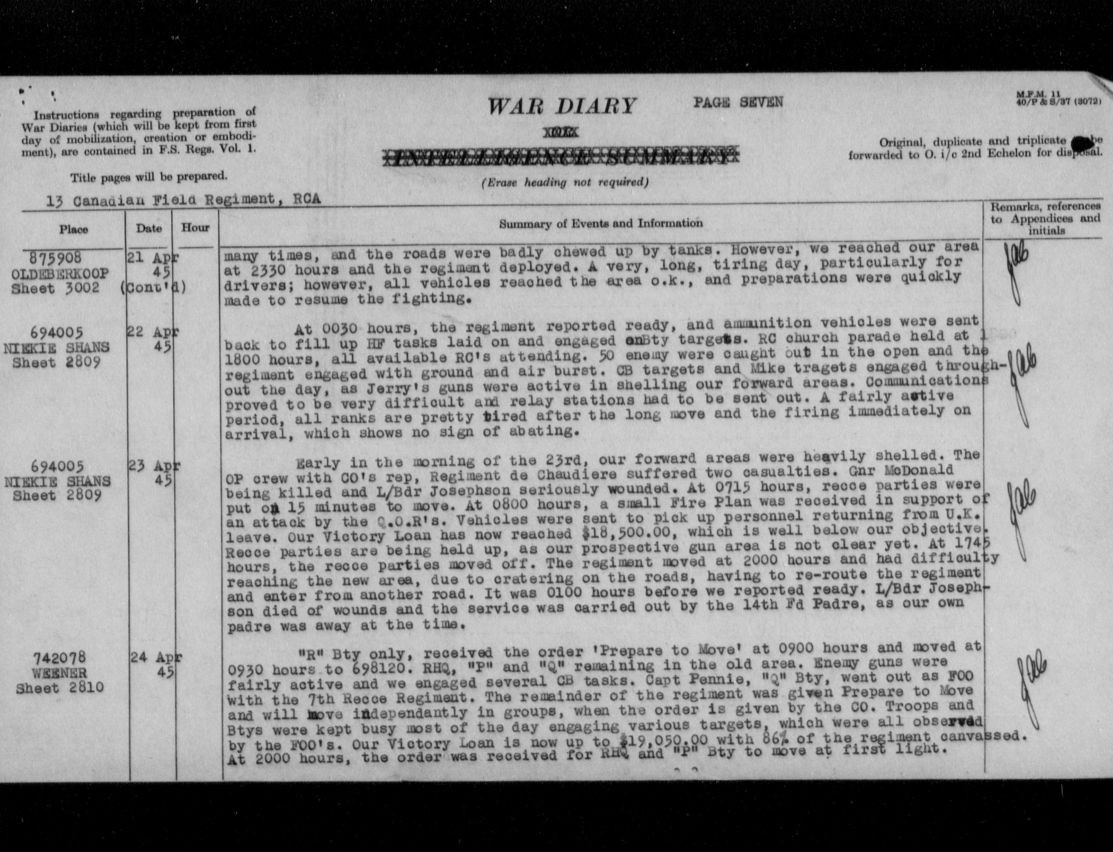 13th Field War diary (See april 23rd reference)