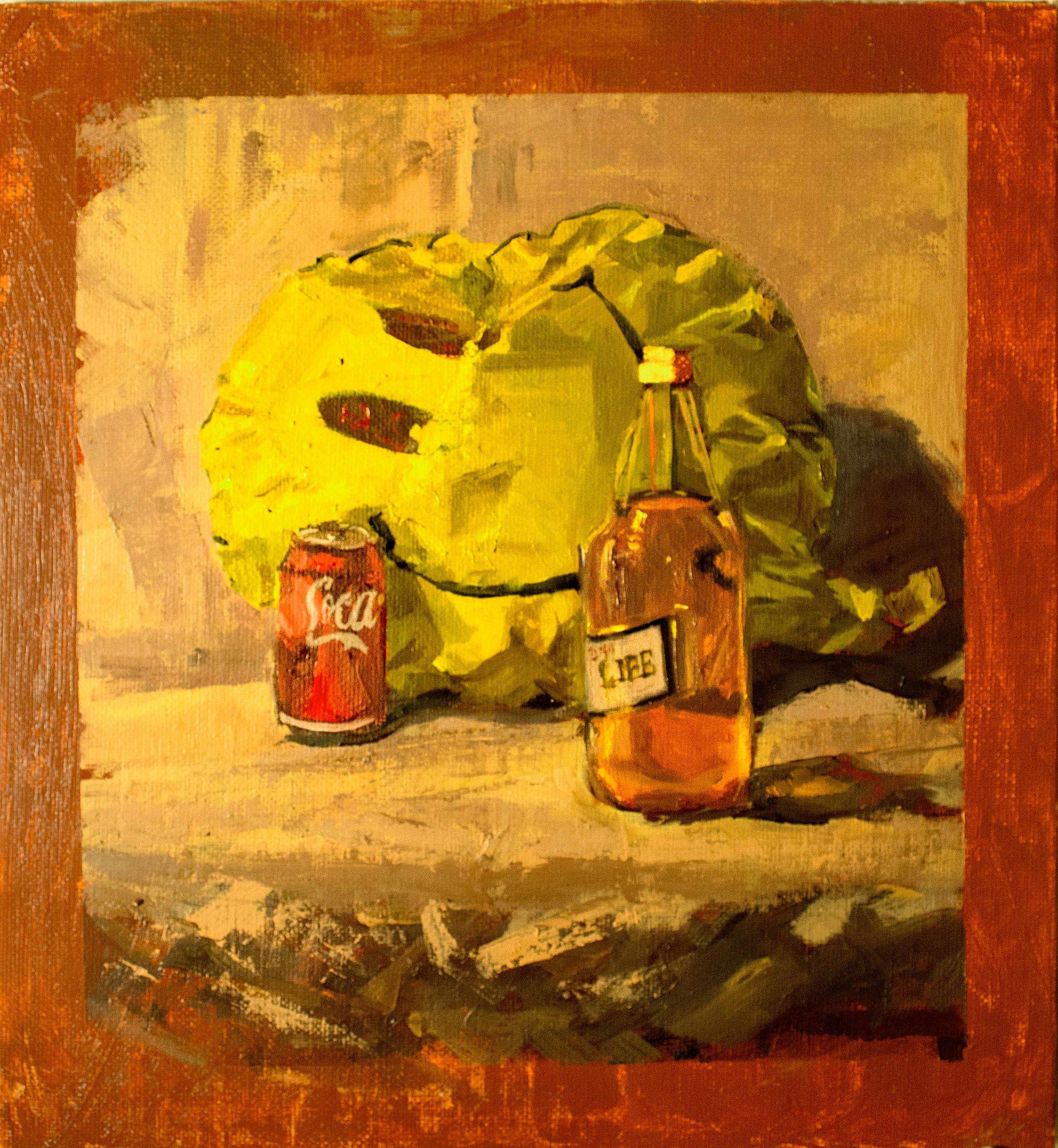 Coca Life, oil on canvas, 12 x 12 in