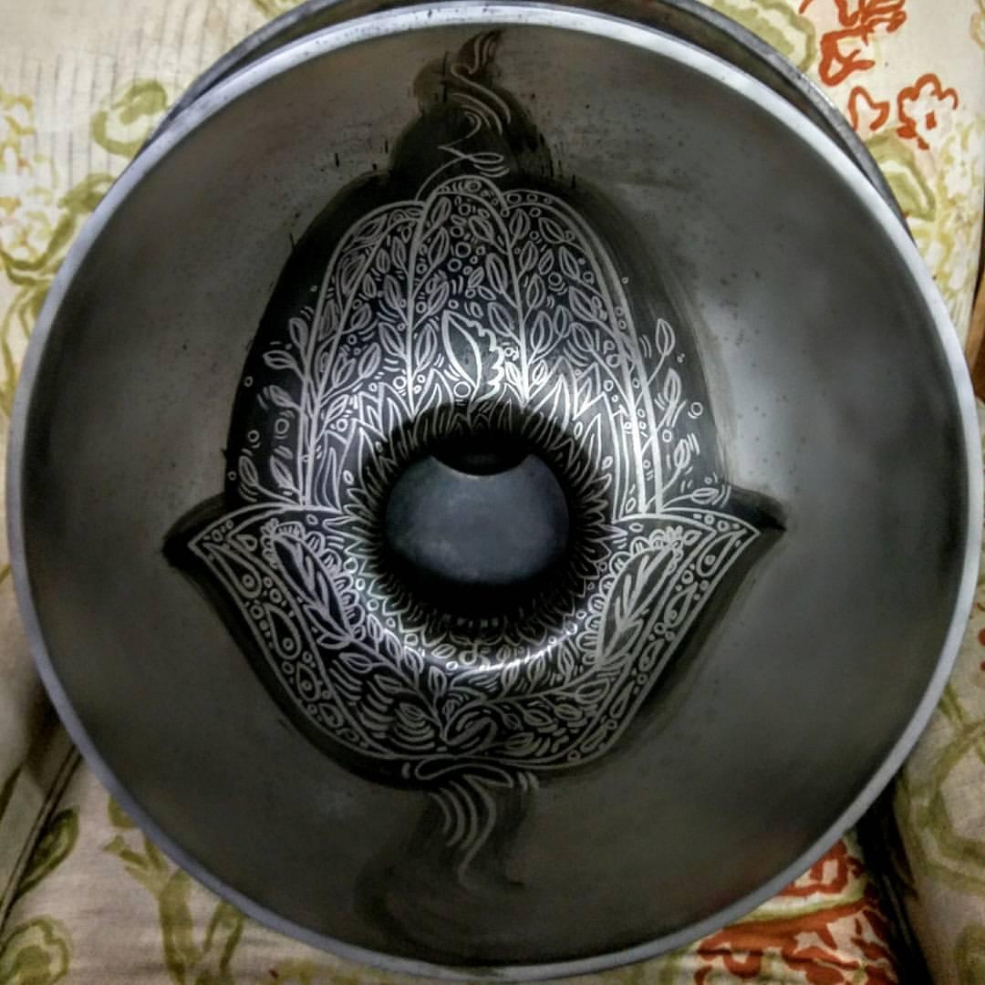 Hamsa on Handpan, Acid Wash Patina on Steel