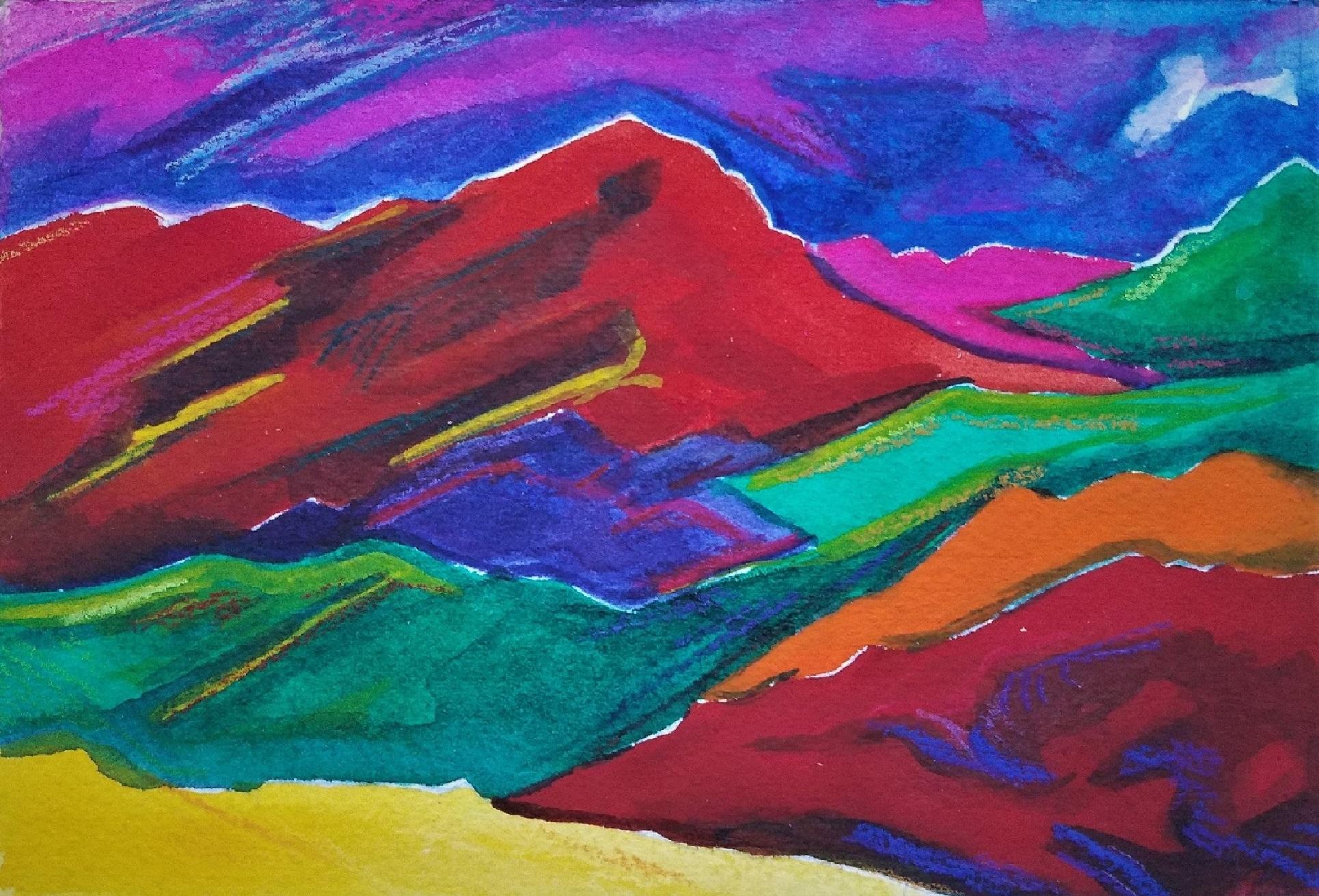 Red, Watercolor & Color pencil, 4x6