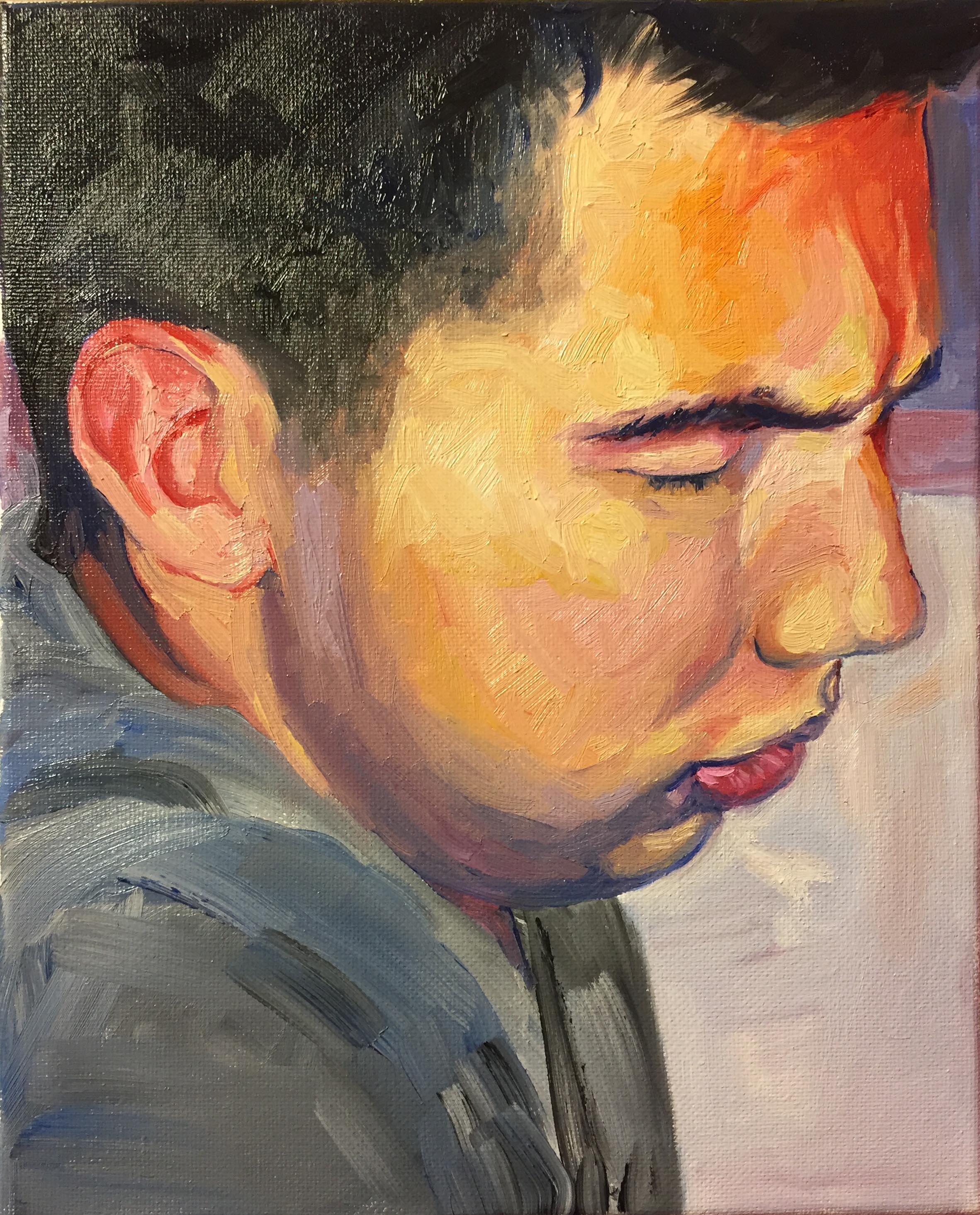 """""""Drunk Portrait #2- Daniel"""".oil on canvas, 8x10"""" 2017"""