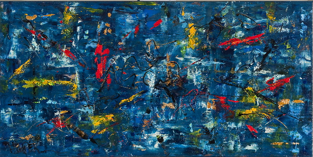 """Blue Period"" 24"" x 36"" Acrylic on Canvas- $850"