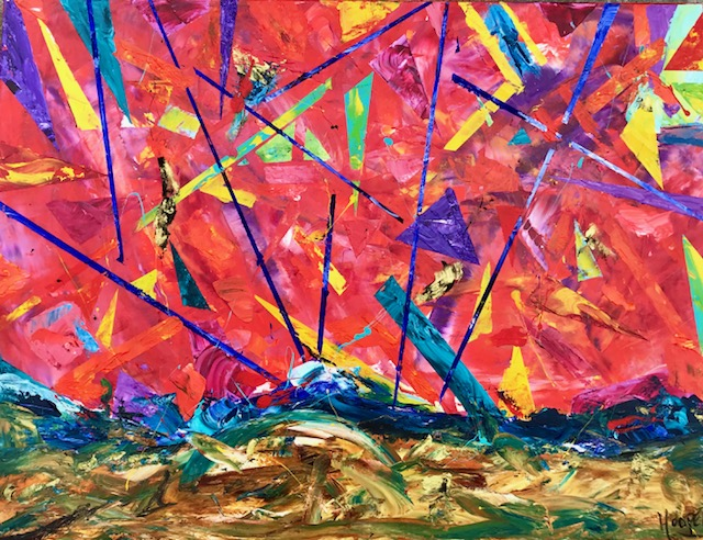 """The Eagle Dawn"" (Sunset Series) 30"" x 40"" Acrylic on Canvas- $1200"