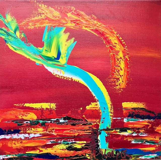 """Sundown"" (Sunset Series) 16"" x 16"" Acrylic on Canvas- $260"