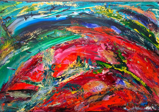 """Estancia"" (Sunset Series)  24"" x 36"" Acrylic on Canvas- $850"