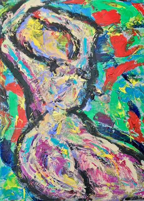 """Bubblicious"" (Nude Series) 30"" x 40"" Acrylic on Canvas- $1200"