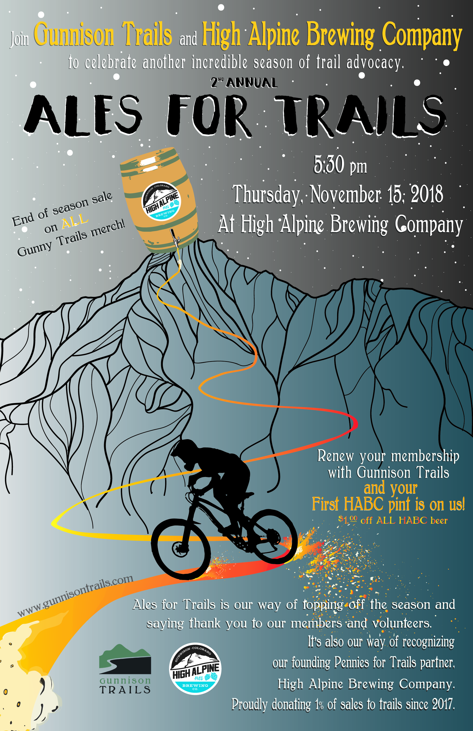 Poster created for a fundraising event for Gunnison Trails.