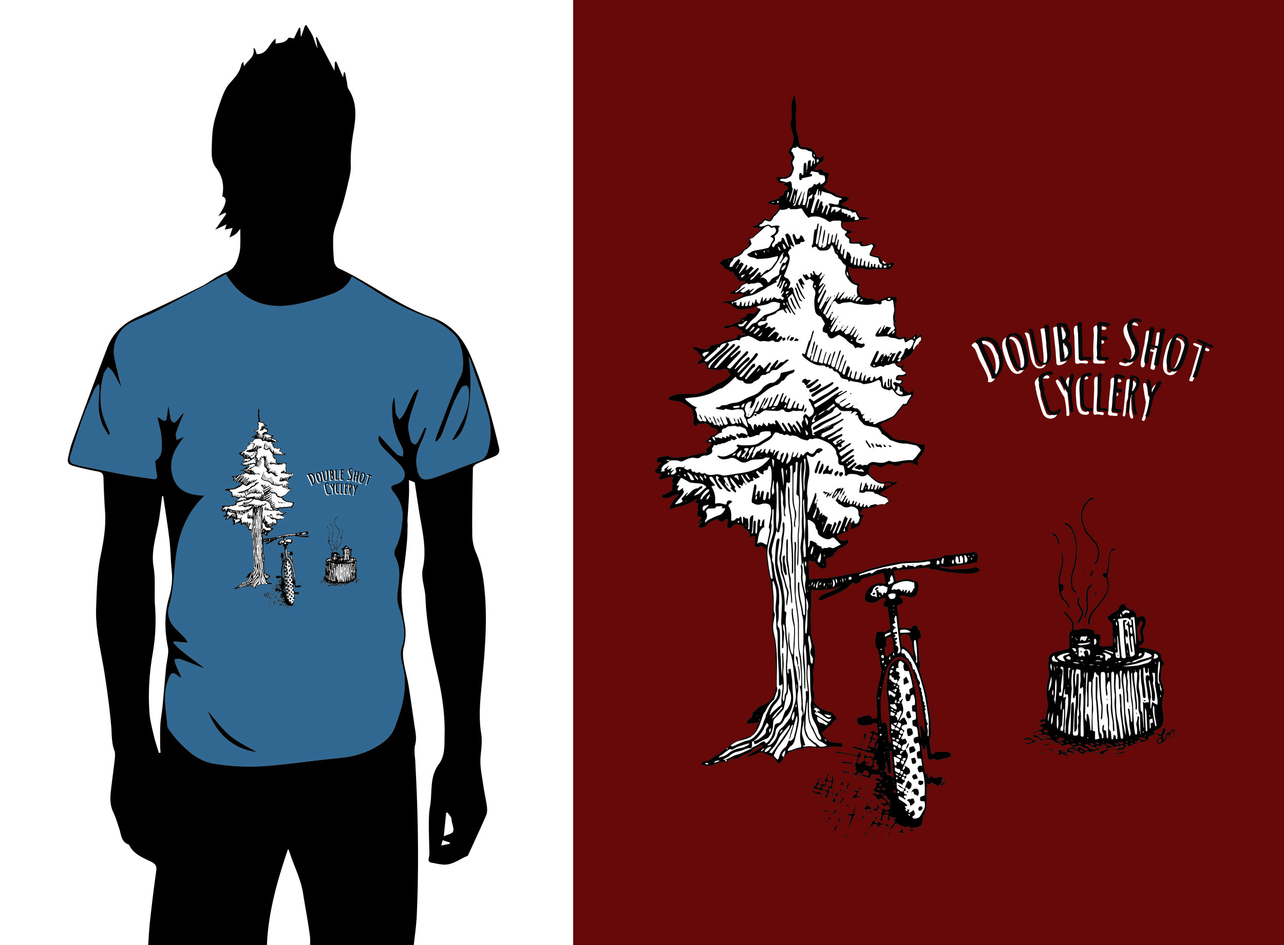 T-Shirt Design for Double Shot Cyclery.