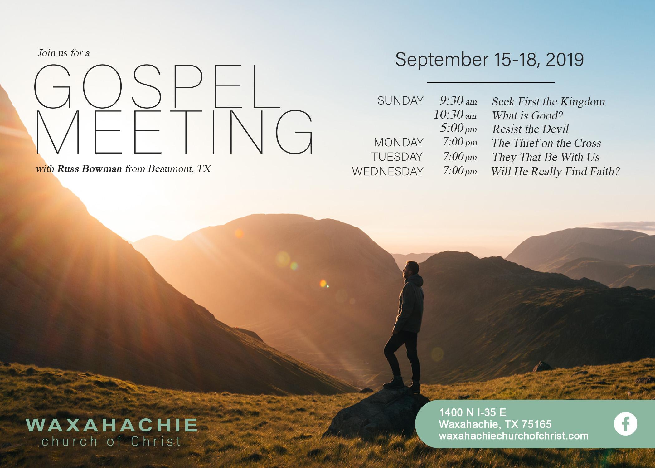 waxahachie church of christ gospel meeting