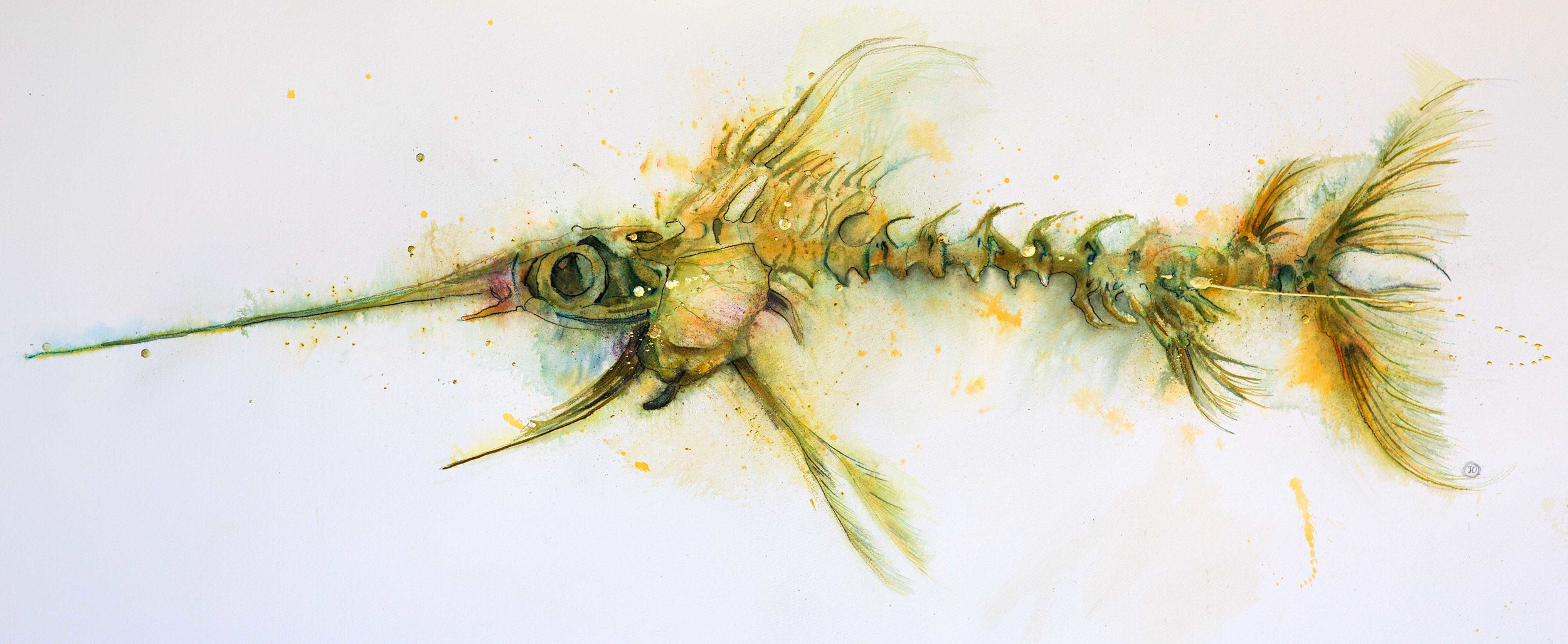 """""""The Swordfish"""" COMMISSION - SOLD  Watercolour, ink and gold leaf"""