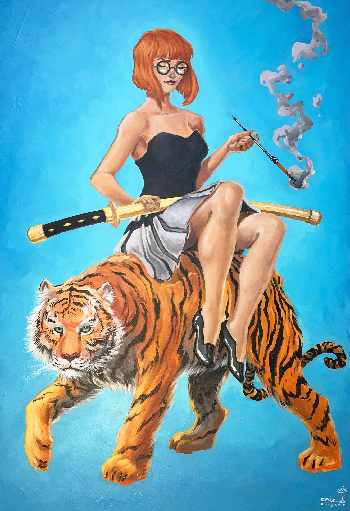 Tiger girl on blue, acryilic painting by ERIC BUSSART illustrator and muralist.jpg