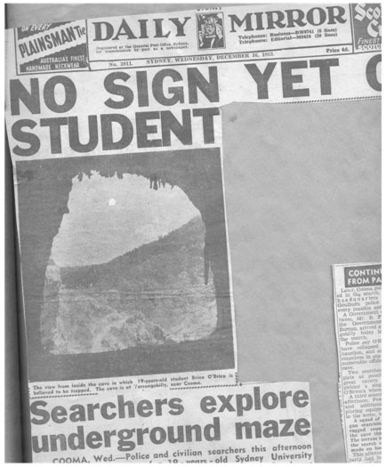 """""""No Sign Yet of Student"""" form the Daily Mirror on December 15 1953."""