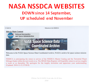 """NSSDCA Web Site Screen Capture stating""""  """"NSSDCA is anticipating the return of service of the NSSDCA Master Catalog and the Terrestrial Planet Mileage Guide within the next week or so. The SPASE Data Registry will hopefully return to service roughly a week or so thereafter. We apologize for the lengthy downtime and appreciate your understanding. (Updated 2018-11-15)"""""""