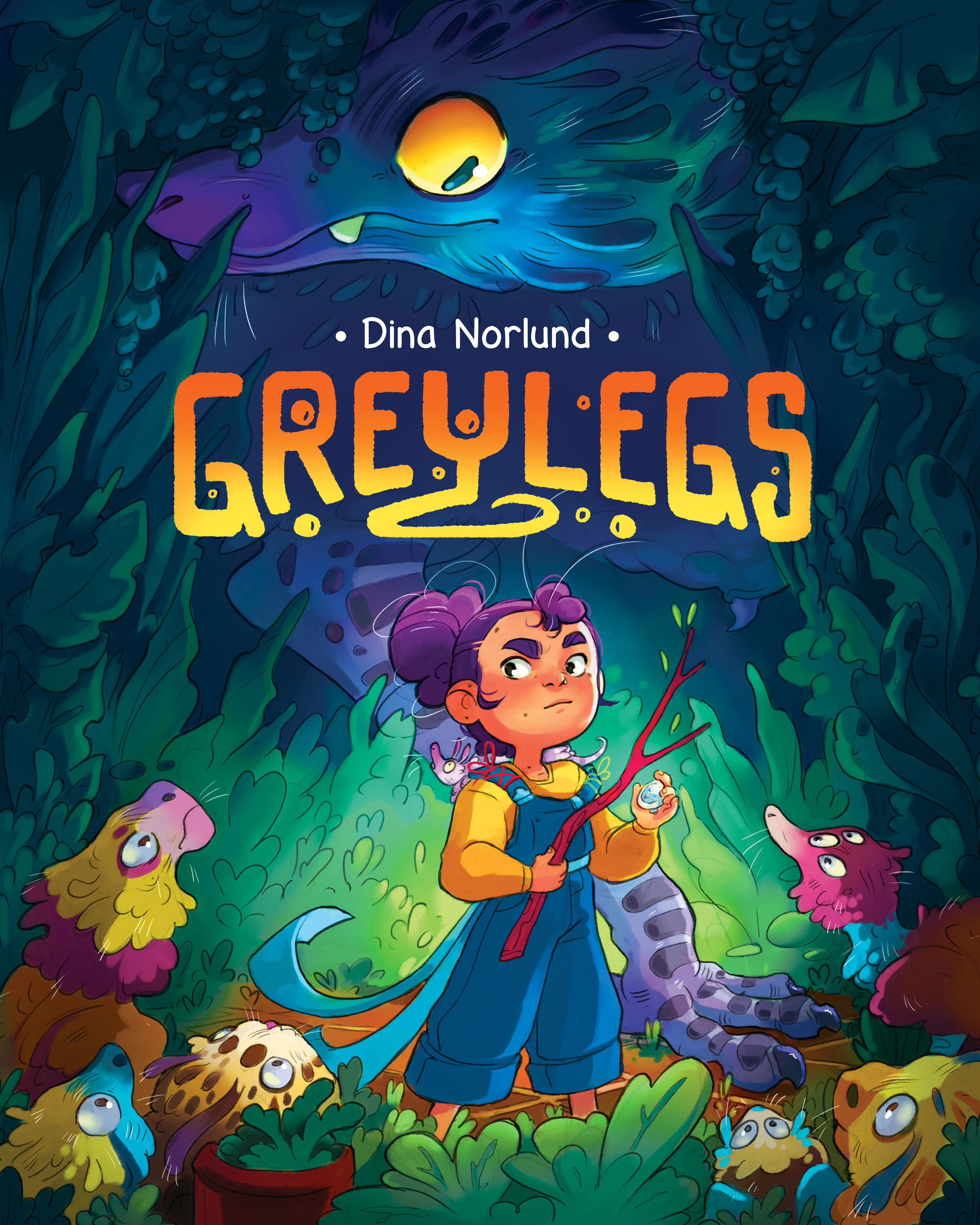 Greylegs - Eva lives in a magical garden filled with strange flowers, curious trees and the weirdest birds you will ever meet. She could not imagine a more perfect place to call home. But one day she glimpses something blue, green and grey lurking in the shadows. What is it, and more importantly... what does it want?