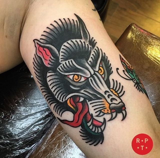 Wolf done by @danmorenotattoo To book with Dan 👉🏻 info@redpointtattoo.com #danmoreno #magicmoreno #redpointtattoo #redpointtattoolondon #london #traditionaltattoo #tattoo