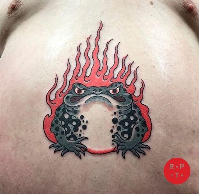 Toad done by @joe_scarletrose  To book with Joe 👉🏻 info@redpointtattoo.com #joescarletrose #redpointattoo #redpointtattoolondon #london #tattoo #japanesetattoo
