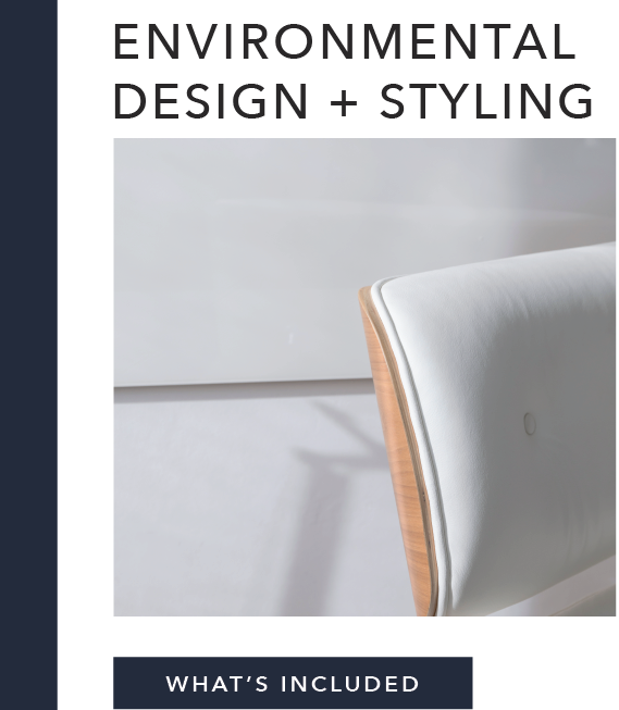 What's Included:   Interior Design Mood Board Product Swipes    (purchase recommendations)  On-Site Showroom, Interior Styling and Tradeshow Build-Outs   (for additional cost)