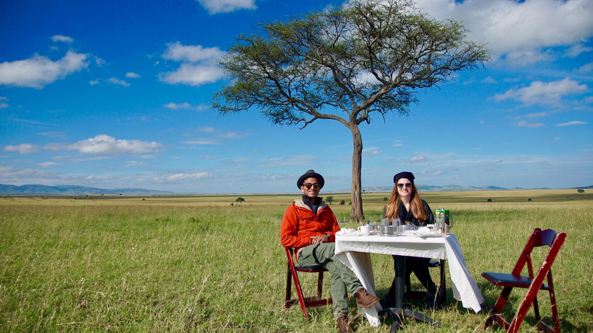 Breakfast in the open plains of the Masai Mara
