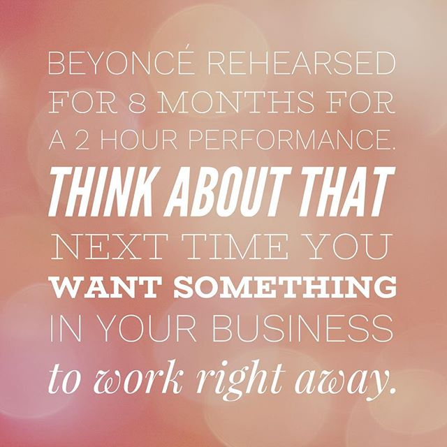 "I can't share this message enough! How often do we allow our impatience to destroy our creations? And it's not either about ""sticking to it"", grinding and working your *** off to make something work that might not be meant to happen. What Beyoncé did was to give her all in creating something that she believed in and she did whatever it took to see her creation come alive! Business needs to be a constant balance between knowing when to let go and knowing when to get to work, not give up and BE PATIENT. . . . . #businessdonedifferent #nomorebusinessasusual #businessmindset #impossibleisnothing #dontquityourdaydream #inspireyou"
