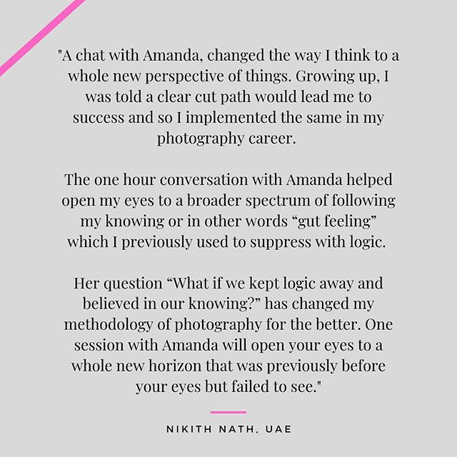 This beautiful testimonial made me cry!! I'm so grateful for all the wonderful people around the world I get to work with. This was written by Nikith, an amazing photographer that attended the Creative Experience I created together with my partners at @houseofbelluso and the amazing duo of @solsticeretouch & @bellakotak . This event was crazy intense and creative and Nikith was brave enough to also have a private session with me 😉 . . Did you know that I also offer private coaching sessions online? PM if you want to know more. . . #businesscoaching #businessmindset #impossibleisnothing #businessdonedifferent #nomorebusinessasusual #inspireyou
