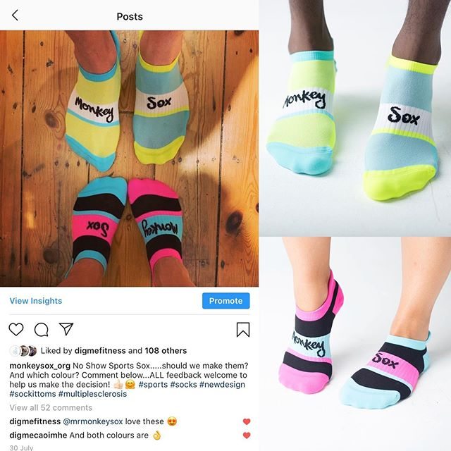 Couldn't be happier! We asked in July if you liked our no show sock samples. You said yes, so here they are 😃!! Thanks for being part of the team! Online in both colours now 🧦🤩 #newdesign #sockittoms #sportssocks